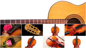 Photo of musical instruments, guitar and violin stock photo