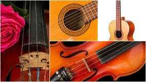 Photo of musical instruments, guitar and violin. Stock Photo