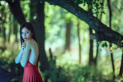 Photo of mystical woman in red dress in fairy forest. Beauty springtime. Wonderful fashion model walking in a fantastical forest by footpath.Mystical portrait of royalty free stock photos