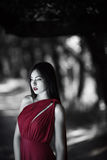 Photo of mystical woman in red dress in fairy forest. Beauty springtime stock images