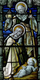 The Nativity in stained glass: Mary, Jesus and Joseph Stock Photos