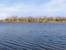 View of autumn island on the Volga river stock photography