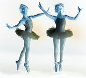 Photo negative of ballet dancer. In two different poses Royalty Free Stock Photo