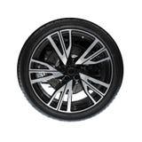 Photo of new automotive wheel isolated on white Stock Photos