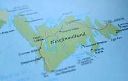 A photo of Newfoundland on a map.  stock photo