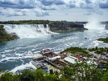 Niagara falls, tourists and Niagara river. Photo of Niagara falls taken from the Canadian side stock photography