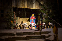 Photo at night of scene of Jesus birth in stable Royalty Free Stock Photos