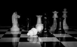 Photo noire et blanche d'échiquier Images libres de droits