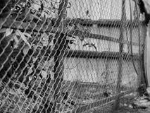 PHOTO NOIRE ET BLANCHE DE BARRIÈRE DE CHAIN-LINK Images stock