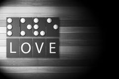 Photo noire et blanche de la signification d'alphabet de Braille de l'AMOUR Images libres de droits
