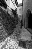 Photo noire et blanche de la voie en pierre Photographie stock libre de droits