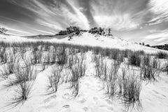 Photo noire et blanche des dunes de sable photos stock