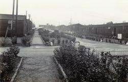 Photo noire et blanche RAF Hednesford, Stafford, prise de cru des années 1950 du R-U photo stock