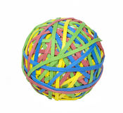 Photo Object - Ball of Rubber Bands. Multi-colored ball of rubber bands. Isolated on white Royalty Free Stock Photos
