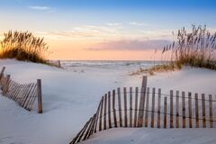 Free Photo Of A Sunrise At Pensacola Beach, Florida With Beautiful White Dunes, Sea Oats And A Dune Fence Royalty Free Stock Photo - 185081355