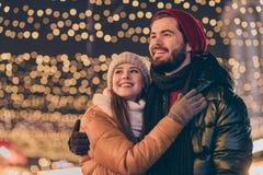 Free Photo Of Affectionate Boyfriend Hug His Girlfriend Look Shine X-mas Christmas Miracle Evening Lights Outdoors Wear Stock Photos - 200463323