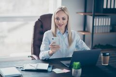Free Photo Of Attractive Business Lady Notebook Table Chatting Colleagues Telephone Read Corporate Report Insurance Agent Royalty Free Stock Photo - 183777545