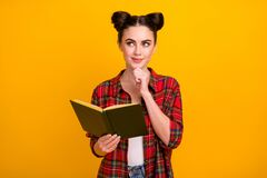 Free Photo Of Cute Student Lady Two Buns Read Story Favorite Novel Look Up Empty Space Dreamer Think Over Essay Writing Wear Royalty Free Stock Photography - 179882487