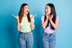 Free Photo Of Funny Crazy Two People Ladies Lesbians Couple Overjoyed Achievement Not Believe Eyes Unexpected Good News Wear Royalty Free Stock Images - 186374569