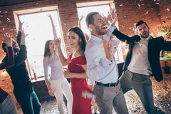 Free Photo Of Group Friends Dance Floor Spending X-mas Corporate Company Party Together Couple Dancing Back-to-back Excited Stock Images - 163392674