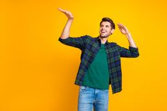 Free Photo Of Nice Guy Crazy Dancer Inviting Friends To Dance Floor Wear Casual Plaid Shirt Isolated Yellow Color Background Royalty Free Stock Photos - 158832778
