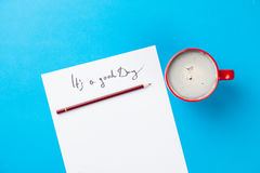 Photo Of Paper It`s A Good Day And Cup Of Coffee Royalty Free Stock Photography