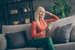 Free Photo Of Pretty Blonde Lady Domestic Mood Holding Telephone Imagination Flight Think Over New Creative Post Text Sitting Royalty Free Stock Photos - 164212828