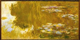 Photo Of The Famous Original Painting `The Water Lily Pond` By Claude Monet Royalty Free Stock Photo