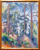 Photo Of The Original Painting: ` Pines And Rocks`by Paul Cézanne. Stock Photo