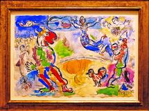 Photo Of The Original Painting: `The Great Circus` By Marc Chagall Royalty Free Stock Photo