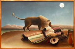 Photo Of The Original Painting `The Sleeping Gypsy` By Henry Rousseau Stock Images