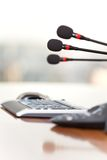 Photo Of Workplace With Keyboard And Microphones Royalty Free Stock Image