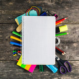 Photo of office and student gear. Back to school concept. Top vi. Ew Royalty Free Stock Photography