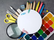 Photo of office and student gear over white background Stock Images