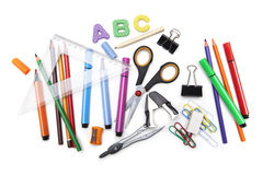 Photo of office and student gear over white background. Royalty Free Stock Images