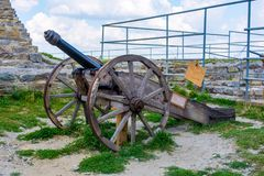 Photo of ancient cannon in castle in Kamyanets-Podilsky. Photo of old ancient cannon in castle in Kamyanets-Podilsky stock photography
