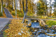 Autumnal motif in old park, Europe stock photo