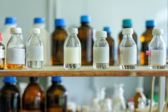 Photo of an old laboratory with a lot of bottles Stock Photo