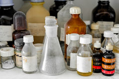 Photo of an old laboratory with a lot of bottles Royalty Free Stock Images