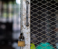 The photo of old lock at the cage to protect the property Royalty Free Stock Images