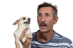 Photo of the old lonely man wirth dog stock photos