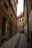 Photo of the old narrow cobblestone streets of medieval European town Royalty Free Stock Photos