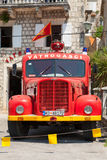 Photo of old red firefighters truck Stock Photography