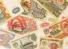 The photo of old soviet ruble banknotes. Set of old soviet roubles. Image can be used as background. royalty free stock photo