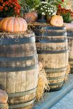 Photo of old wooden barrels on which there are pumpkins and bouquets of wild flowers royalty free stock photo