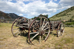 Wooden pioneer wagon Royalty Free Stock Images
