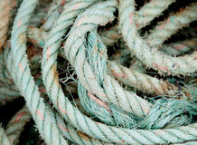 Photo of an old worn rope rolled Royalty Free Stock Images