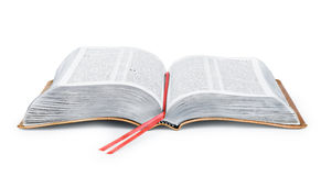 A photo of an open Bible. Isolated on a white background Royalty Free Stock Photography