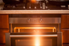 Photo of open incandescent open oven Royalty Free Stock Photography