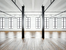 Photo of open space interior in modern loft. Empty white walls. Wood floor, black beams,big windows. Horizontal, blank Royalty Free Stock Images